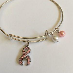 Jewelry - Breast Cancer Crystal Ribbon Charm Bracelet